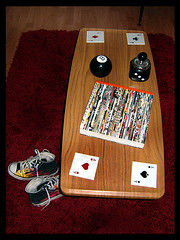 Retro Coffee Table (Hailey Kitten) Tags: red white dice black vintage cards apartment kitsch converse coffeetable woodfloors magiceightball retrofurniture redrug vintagebar vintageapartment