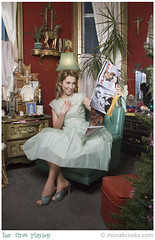 Her first playboy (SFMONA) Tags: green girl fashion vintage magazine dress retro playboy surprised 50s concept ideal conceptual housewife soe abigfave