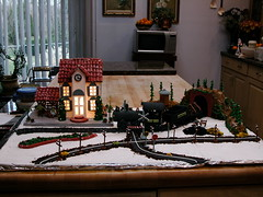 Train depot (ineedathis) Tags: christmas roof house kitchen train miniatures baking nikon candy modeling tiles depot gingerbreadhouse merrychristmas telephonewires traincrossing traindepot kitchenisland gumpaste rooftiles cakedecorating blueribbonwinner butcherblock sugarcraft