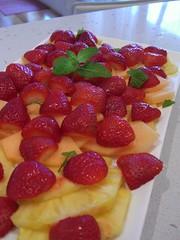 Omega's Fruit Platter (avlxyz) Tags: food fruits fruit strawberry mint strawberries casio pineapple exilim milkfree rockmelon lactosefree z850