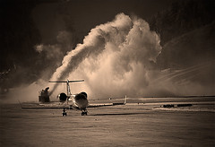 Watch Out for Blowing Snow! (RottieLover) Tags: winter snow plane airplane airport nikon colorado aircraft d200 aspen blowingsnow learjet 18200mm 18200mmf3556gvr lr60