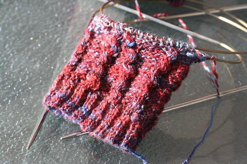 New sock! (Fiber Fiend Merino/Tencel in Fire & Ice colorway) 2