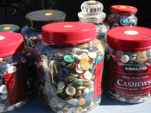Rose Bowl flea market in Pasadena--buttons in jars