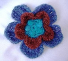 BlueBrown Crochet Flower