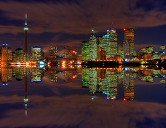 Tonight? (~EvidencE~) Tags: longexposure toronto reflection skyline mirror nikon bravo flickr downtown cntower top skylines 20 lakeontario evidence supershot toronto d80 torontoskylinenight top20flickrskylines 2007