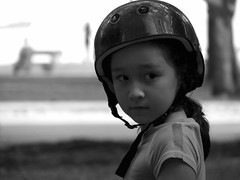 Bring it on.....I'm armed now... (Restless mind) Tags: deleteme5 deleteme8 portrait blackandwhite deleteme2 cute deleteme3 deleteme4 deleteme6 deleteme9 deleteme7 girl canon singapore deleteme10 candid helmet perspective stare deletme6 ecp deleteme1 s3is