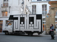 Space Invader PA_295 : Paris 1er (tofz4u) Tags: streetart paris truck tile graffiti mosaic spaceinvader spaceinvaders camion invader van 75001 mosaque latlas artderue pa295