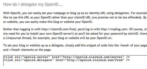 Easy snippet for OpenID delegation at ClaimID