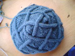 Cable Entrelac Hat WIP Top View