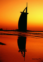 Burj Al Arab Reflection ( Emiraty ) Tags: sunset reflection beach al dubai uae arab burjalarab burj     emiraty
