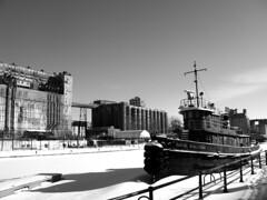 Le Daniel McAllister ( CHRISTIAN ) Tags: blackandwhite bw architecture montral noiretblanc quebec montreal silo qubec tugboat bateau vieuxport