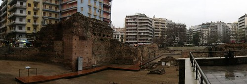 Ancient remains in the middle of the city in Thessalonika, Greece