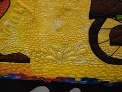 Clowns on parade bucket quilting detail 2