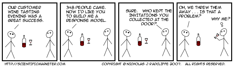 Our customer wine tasting evening was a great success.   348 people came.   Now I'd like you to build me a response model.   Sure.   Who kept the invitations you collected at the door?   Oh, we threw them away . . . Is that a problem?    (Why me?)