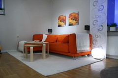 Orange Couch (jimmyroq) Tags: orange white home carpet design living flat room couch uppsala appartment styling lgenhet