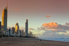 Reading On The Beach (k009034) Tags: 500px waves australia copy space gold coast pacific queensland tranquil scene beach buildings city clouds evening nature ocean oceania sand sea sky sunset tracks travel destinations teamcanon