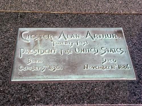 Plaque on Chester A. Arthur's Tomb