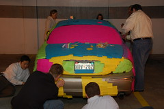 The Post-It Note Jaguar: Bumper. (Scott Ableman) Tags: car topv111 topv2222 workers topv555 topv333 automobile colorful parkinggarage topv1111 topv999 postit topv5555 photodomino topv777 jaguar psychedelic postits topv3333 topv4444 jokers stickynotes officeprank stype jokesters msh0107 msh010716 practicaljokers practicaljoker photodomino478