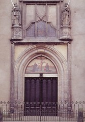 Dr. Martin Luther's Church Door - Wittenburg, Germany '93 (Mikey G Ottawa) Tags: street door 35mm fence germany photography gate post display lock stage declaration guard protest entrance martini roadtrip oldschool doorway doctor martinluther entryway dontwalk merchandise block exit merch thewall entry protestant testimony instamatic luther cornice eastgermany proclamation reformation protestation mikeyg mikeygottawa lutherism lutheranprotestant democraticrepublicofgermany drmartinluther doctorluther doctormartinluther mikesmoneyshot