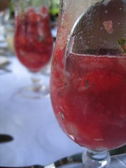 Strawberry, watermelon and pomelo salad with white wine, strawberry and mint granita
