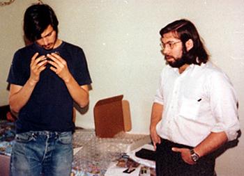Steve Jobs and Steve Wozniak in 1975 with a