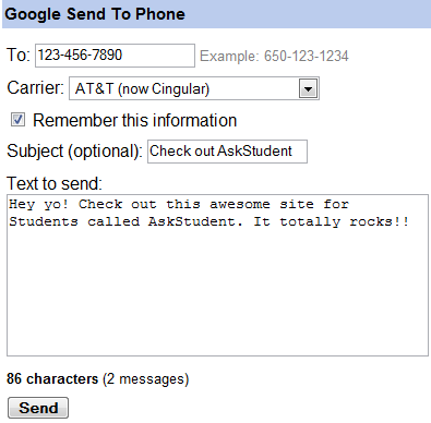 SMS text messages using Google