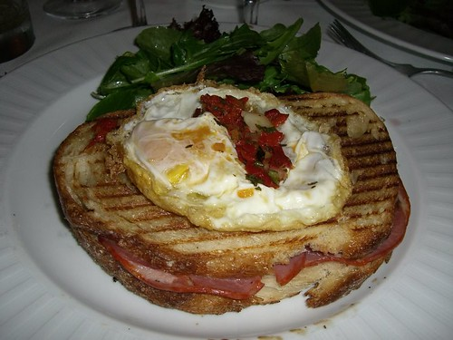Cured Meat and Fried Egg grilled cheese sandwich
