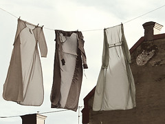 (sandra juto) Tags: roof chimney sky brick dresses clothesline whitespacewednesday