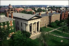 An aerial view of Brown University