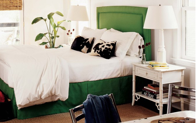 White bedroom with deep green upholstered bedhead, via Cottage Living 06
