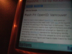 Vancouver OpenID Mash Pit on N80i browser - 08/01/2007