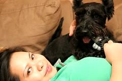 365.014: Scotch & me in VA (heidiologies) Tags: dog selfportrait black green me heidi virginia terrier scotch mlkweekend