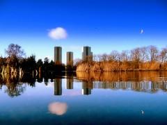 Looking into the future....... (Nicolas Valentin) Tags: park wood blue cloud reflection water birds scotland glasgow flats challengeyouwinner abigfave diamondclassphotographer