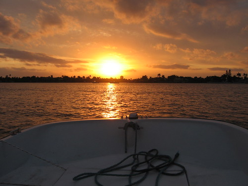 sunset off the boat