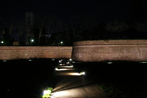 Lucca's walls at night
