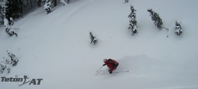 Reed skis the gully on Olive Oil