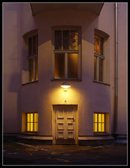 A ([ Petri ]) Tags: door light night finland helsinki courtyard architectural artnouveau jugend annankatu sispiha