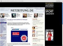 Netzeitung mit Werbung und Navigation nach Relaunch