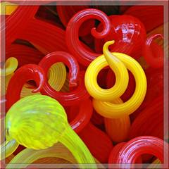swirls & curls (jaki good miller) Tags: red sculpture color chihuly art glass yellow artwork colorful curls exhibit swirls jakigood artset