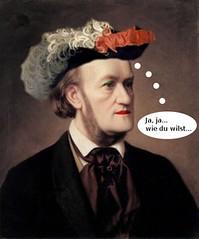 Wagner vestido de mujer, con sombrero francés
