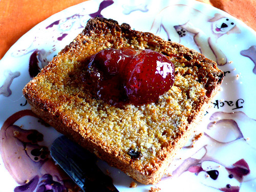 granola bread toast with preserved strawberries