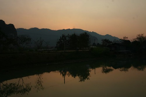 Sunset from my guest house in Vieng Xai