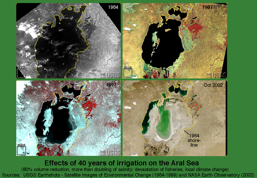 USGS and NASA images of the shrinking Aral Sea, 1964-2002