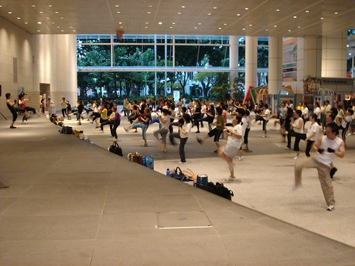 Thanks to Inju on Flickr for this image. (Exercising in National Library Singapore)