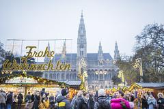 20161215_F0001: Frohe Weihnachten wishes Vienna (wfxue) Tags: christmasmarket froheweihnachten merrychristmas sign text christmas vienna rathausplatz rathaus towers festive people street candid