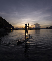 Sup Girl 2 (Snirk) Tags: philippines sunrise girl silhouette elnido palawan miniloc sup standup paddleboard landscape