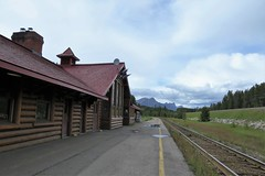 The Depot at Lake Louise (Patricia Henschen) Tags: lakelouise depot train station canadianpacific railroad alberta canada mountains clouds canadian rockies rocky banffnationalpark parks parcs parkscanada railroadstation railway boreal forest cp rail pathscaminhos