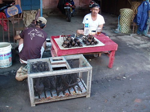 Cooked rats for sale in Manado market