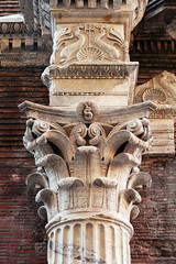 brill column (dr_loplop) Tags: rome roma italy pantheon roman temple column capital corinthian travertine marble stone fluted shaft fish dolphins shell trident frieze cornice eggdart fishchips brickwork