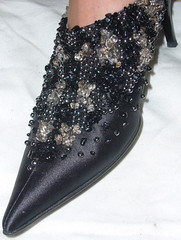 pearl overdose (subsilk) Tags: black shoe shoes heels stitching pearl mules schuhe schwarz perlen schuh stickerei pantoffel hackenschuhe perlenstickerei zickenlatschen
